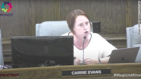 Minot City Council Member Carrie Evans pushes back on residents' objections to a Pride flag being raised at city hall.