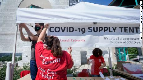 "A ""COVID-19 Supply Tent"" is seen on Move In Day 2020 - North and West Campus, at Cornell University, Ithaca, New York."