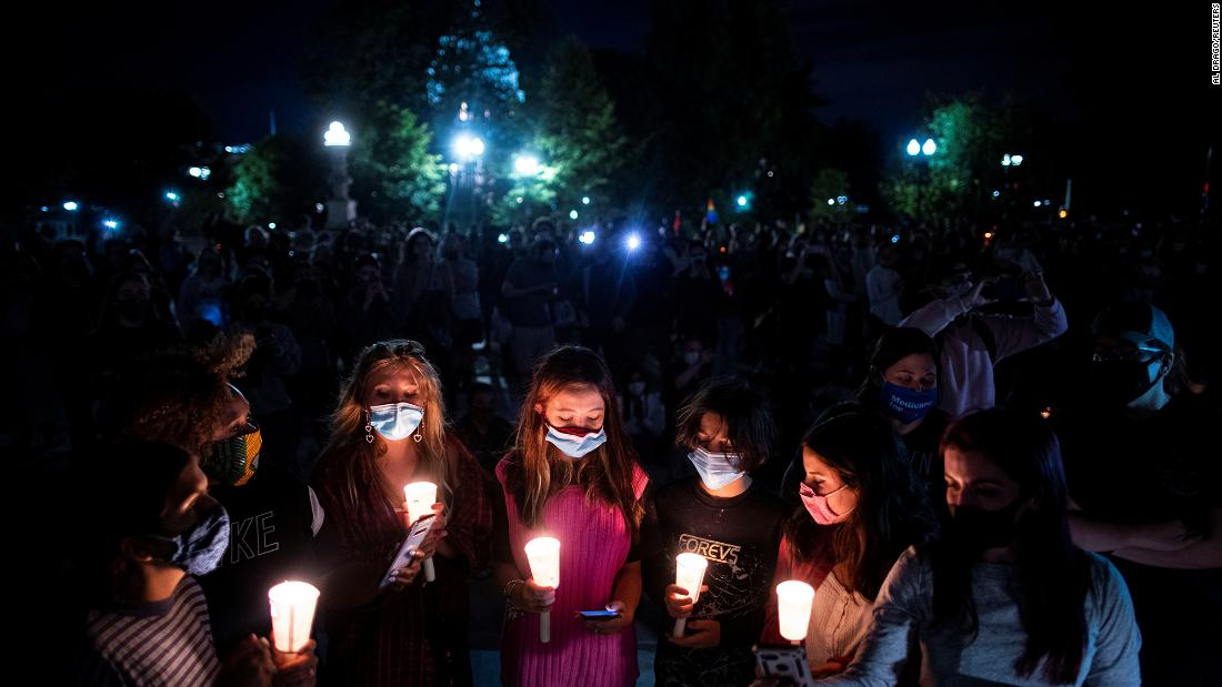 A group of women hold candles as they gather in front of the US Supreme Court on Friday, September 18, in Washington.