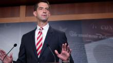 Sen. Tom Cotton (R-AR) attends a press conference announcing Senate Republicans' opposition to D.C. statehood on Capitol Hill July 01, 2020 in Washington, DC. (Photo by Tasos Katopodis/Getty Images)