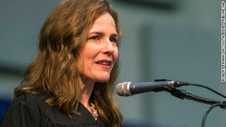 In this May 19, 2018 file photo, Amy Coney Barrett, United States Court of Appeals for the Seventh Circuit judge, speaks during the University of Notre Dame's Law School commencement ceremony at the University of Notre Dame in South Bend, Ind. (Robert Franklin /South Bend Tribune via AP, File)