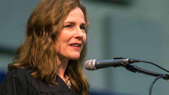 In this May 19, 2018 file photo, Amy Coney Barrett, United States Court of Appeals for the Seventh Circuit judge, speaks during the University of Notre Dame's Law School commencement ceremony at the University of Notre Dame in South Bend, Indiana.