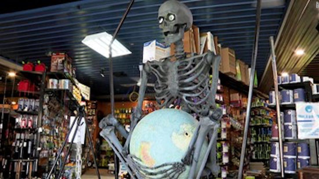 Skeletons hanging around Connecticut to raise cash for art