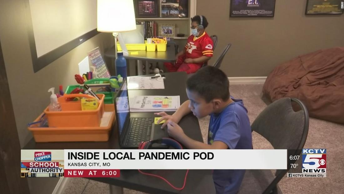 Teacher uses basement to teach children in 'pandemic pod'