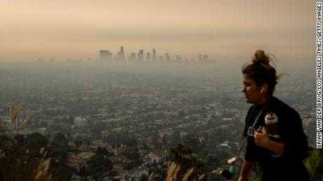 Smoke from multiple Southern California wildfires was drifting over the Los Angeles area on Thursday.