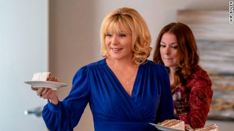 "(From left) Kim Cattrall and Aubrey Dollar star in ""Filthy Rich."""