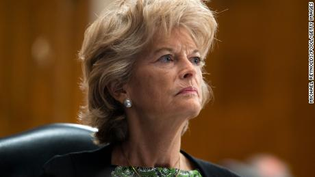 Sen. Lisa Murkowski looks on during a committee hearing on Covid-19 earlier this year.