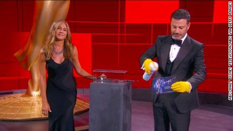 Jimmy Kimmel and Jennifer Aniston at the Emmy Awards in September
