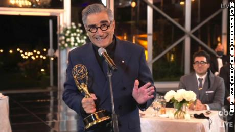 "Eugene Levy accepts the outstanding lead actor in a comedy series award for ""Schitt's Creek."" (The Television Academy and ABC Entertainment via AP)"