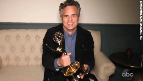 "Mark Ruffalo accepts the award for outstanding lead actor in a limited series or movie for ""I Know this Much is True.""  (The Television Academy and ABC Entertainment via AP)"