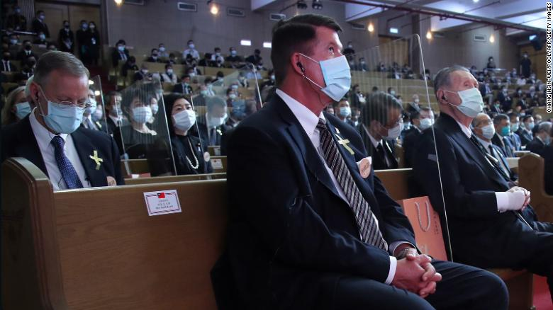 Keith Krach, a US undersecretary of state, attends a funeral ceremony of former Taiwan President Lee Teng-hui in Taipei on September 19, 2020.