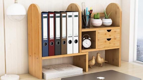 Tribesigns Desktop Bookshelf With Drawers