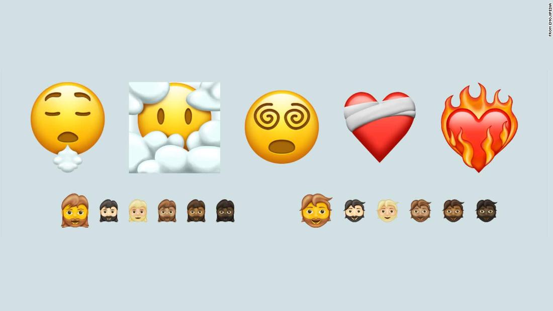 New emojis are coming in 2021, including a heart on fire, a woman with a beard and over 200 mixed-skin-tone options for couples