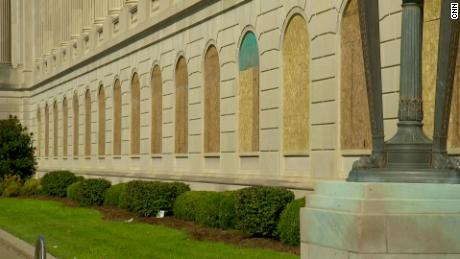 The Gene Snyder U.S. Courthouse and Customhouse is seen with boarded up windows.
