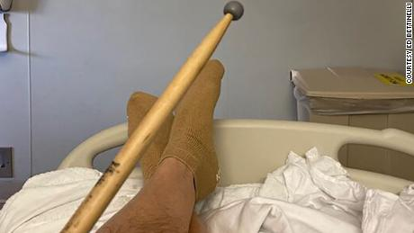 Ed Bettinelli takes his drumsticks with him -- even to the hospital.
