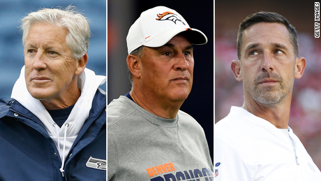 Seattle's Pete Carroll, Denver's Vic Fangio and San Francisco's Kyle Shanahan were each fined, a source told CNN.