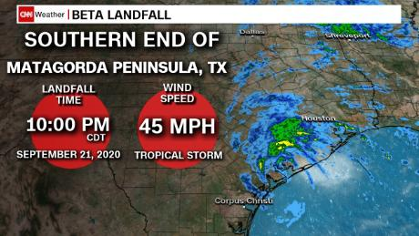 Tropical Storm Beta made landfall as Hurricane Teddy continues north