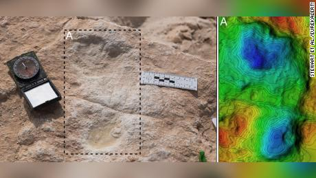 The first human footprint discovered at Alathar and its corresponding digital elevation model.