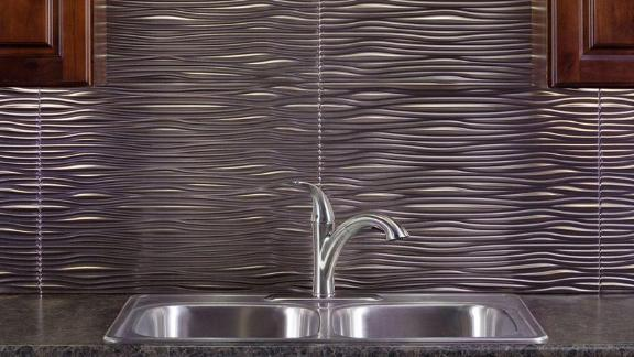 Fasade Brushed Nickel Waves Backsplash