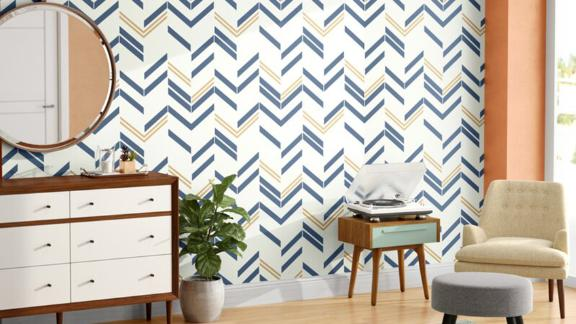 Mistana Timm Chevron and Herringbone Peel and Stick Wallpaper Roll