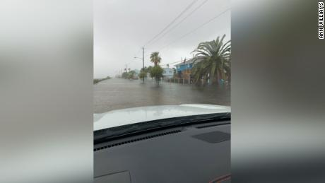 Storm surge from Beta floods streets in In Jamaica Beach, Texas.