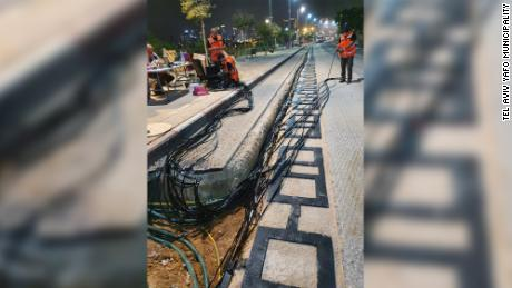 The electric road being built in Tel Aviv