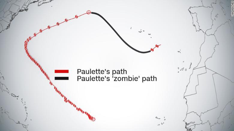 Tropical Storm Paulette is back as a zombie storm.