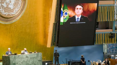 In this photo provided by the United Nations, Jair Bolsonaro speaks in a pre-recorded message played during the 75th session of the UN General Assembly on Sept. 22, 2020.
