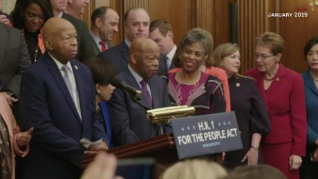 "A photo of Rep. Elijah Cummings and Rep. John Lewis is seen in a bonus clip from ""John Lewis: Good Trouble."""