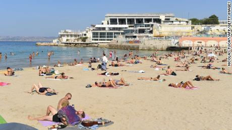 Sunbathers on the beach in Marseille, France, on September 14.