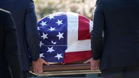 The flag-draped casket of Justice Ruth Bader Ginsburg arrives at the Supreme Court in Washington, Wednesday, Sept. 23, 2020. Ginsburg, 87, died of cancer on Sept. 18.