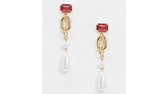 Reclaimed Vintage-Inspired Statement Pearl Drops With Pink Stone