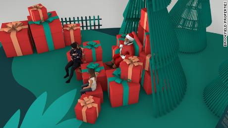 Rendering of a Santa set at a mall where children will maintain 6 feet distance during their visit.