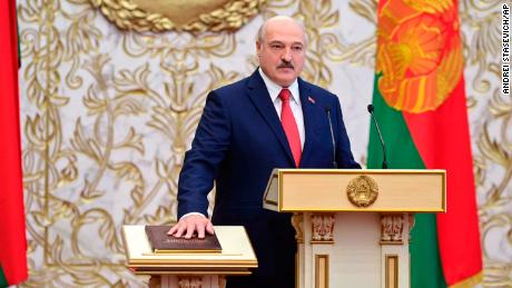 President Alexander Lukashenko takes his oath of office during an unannounced inauguration ceremony in Minsk on September 23.