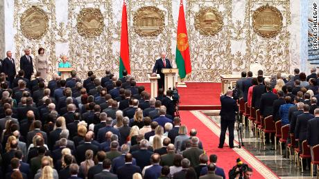 Lukashenko takes his oath of office during his inauguration ceremony in Minsk on Wednesday.