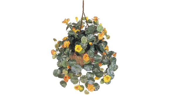 Nearly Natural Nasturtium Silk Hanging Basket