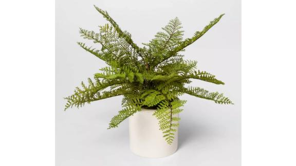Threshold Artificial Fern Arrangement in White Ceramic Pot