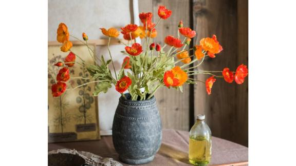 Silk Flower Common Poppy Spray