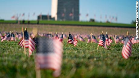 Twenty thousand flags were placed on the National Mall to commemorate the death of Covid-19 in the United States