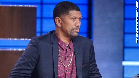Jalen Rose appears in 2019 on a TV game show.