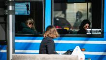 Commuters in Stockholm on April 1. Sweden has not advised the public to wear masks on public transport.
