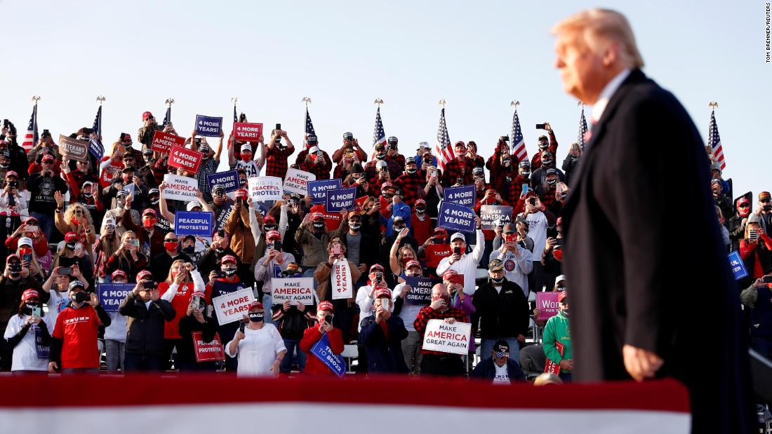 President Donald Trump attends a campaign rally in Bemidji, Minnesota, on September 18.
