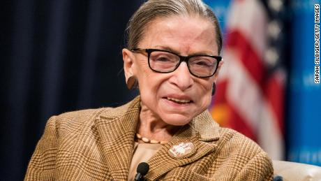 Ginsburg participates in a discussion at the Georgetown University Law Center on February 10, 2020 in Washington, DC.