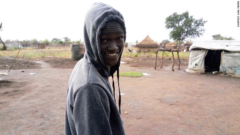 Lual Mayen in a refugee camp in Northern Uganda.