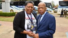 Joanne Bland with John Lewis in Selma, Alabama in 2019. (Credit: Stephane Kossmann)