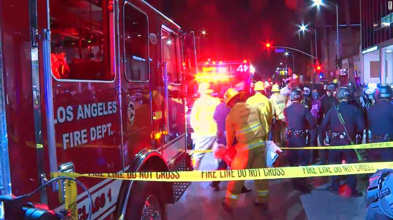 Protester hit by vehicle during march down Sunset Boulevard in Hollywood