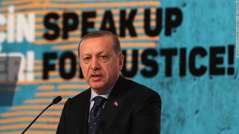 "President of Turkey, Recep Tayyip Erdogan gives a speech during 2nd International Women and Justice Summit, organized by KADEM (Turkish acronym for ""Women and Democracy Association"")  at WOW Convention Center in Istanbul, Turkey on November 25, 2016."