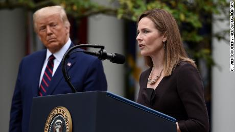 Judge Amy Coney Barrett speaks after being nominated to the US Supreme Court by President Donald Trump in the Rose Garden of the White House in Washington, DC on September 26, 2020. - Barrett, if confirmed by the US Senate, will replace Justice Ruth Bader Ginsburg, who died on September 18. (Photo by Olivier DOULIERY / AFP) (Photo by OLIVIER DOULIERY/AFP via Getty Images)