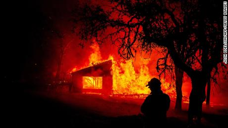A building burns during the Glass Fire in St. Helena, California.