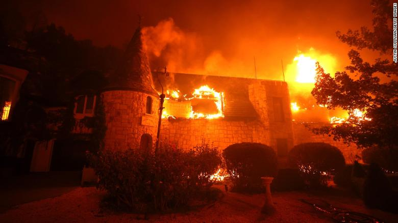 The Chateau Boswell Winery, in St. Helena, California, was destroyed by the Glass Fire, which continues to move through Napa County.